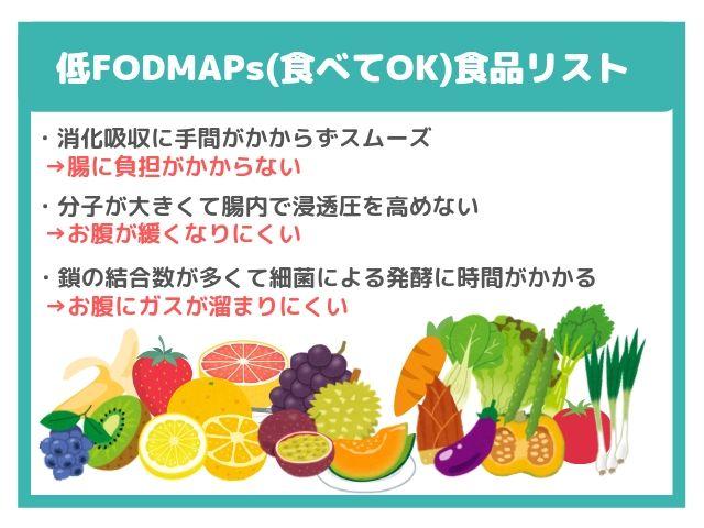 FODMAPs 腸 食品 一覧 OK NG
