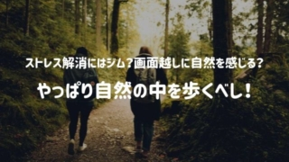 ジムへ行く?自然の風景をTV越しに眺める?いや、ストレス解消にはやっぱ自然の中を歩くべし!らしい。